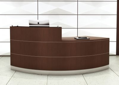 "Custom 96""x30""  Wood Veneer Desk with Frosted Glass Transaction Top"