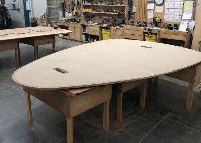 """Guitar Pick"" table top in construction"