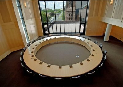 Overhead image of modular desking conference system