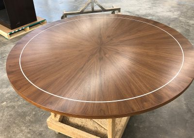 Starburst veneer on round table