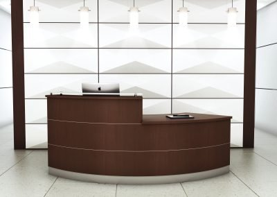 "Reception Station: Custom 96""x30""  Wood Veneer Desk with Frosted Glass Transaction Top"