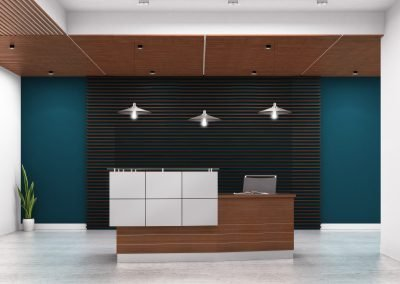 "Reception Station: Custom 81""x34"" HPL Desk with Silver Inlay. Contrasting Bump-Out in White Laminate with Black Inlay."