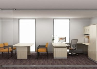 Americana office with u-shape desk overheads double door wardrobe