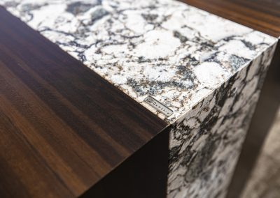 Detail of Cambria Ironsbridge stone on Nevers Cazzador desk