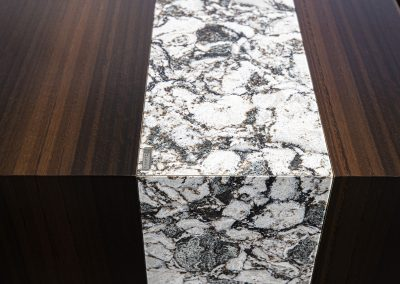 Detail of Cambria Ironsbridge stone waterfall on Nevers Cazzador desk