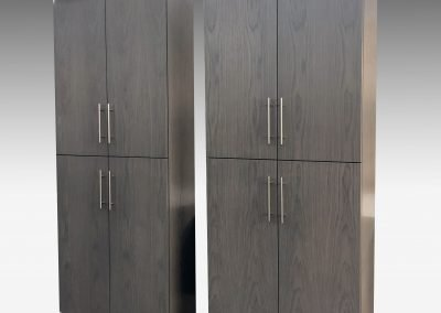 Tall gray cabinets