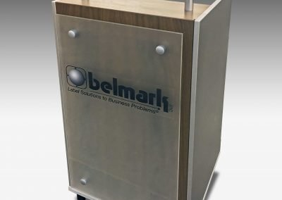 Belmark Glass Front Lectern with Logo