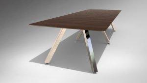 "144"" x 48"" x 29"" Leeza Meeting Table, Six Chrome Bases"