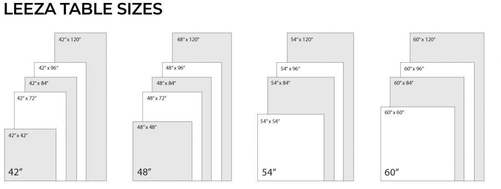 Leeza Standard Table Sizes